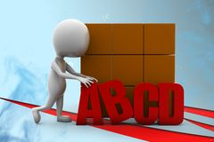 3d man abcd Illustration Royalty Free Stock Images