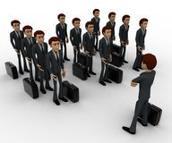 3d man addressing group of executives concept Stock Images