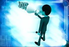 3d man advertise job using speaker illustration Stock Image