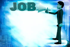 3d man advertise job using speaker illustration Royalty Free Stock Photo