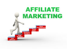 3d man affiliate marketing word steps Royalty Free Stock Images