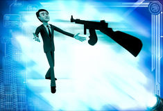 3d man afraid of machine gun illustration Royalty Free Stock Image