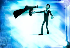 3d man afraid of machine gun illustration Stock Images