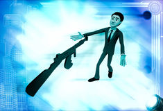 3d man afraid of machine gun illustration Royalty Free Stock Photo