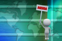 3d man with agenda board illustration Stock Images