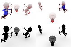 3d man aim on bulb concept collections with alpha and shadow channel Royalty Free Stock Images