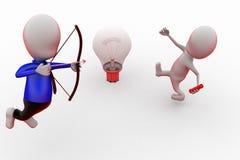 3d man aim on bulb concept Stock Photo