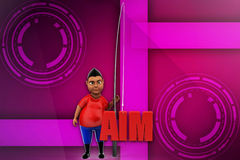 3d man aim illustration Stock Photo