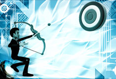 3d man aiming target with bow and arrow illustration Stock Images