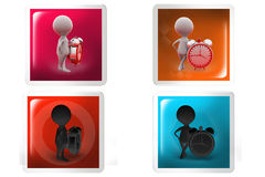 3d Man alarm clock concept icon Royalty Free Stock Images