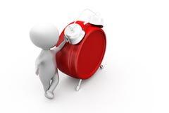 3d man alarm clock concept Royalty Free Stock Image