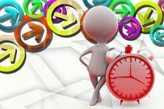 3d man alarm clock illustration Royalty Free Stock Image