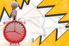 3d man on alarm clock illustration Stock Images