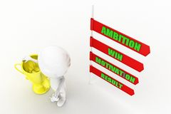 3D man ambition motivation win result concept Royalty Free Stock Photos