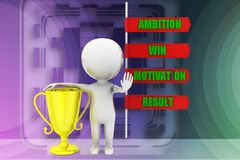 3D man ambition motivation win result illustration Royalty Free Stock Image