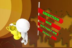 3D man ambition motivation win result illustration Royalty Free Stock Photography