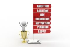 3D man  Ambition Solution Win Innovation Motivation Planning Result  concept Stock Photo