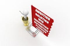 3D man  Ambition Solution Win Innovation Motivation Planning Result  concept Royalty Free Stock Photos