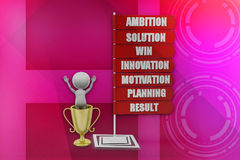3D man  Ambition Solution Win Innovation Motivation Planning Result  illustration Stock Photo