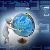 3d man analysing the globe Stock Images