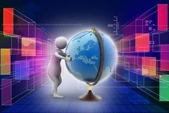 3d man analysing the globe Royalty Free Stock Photos