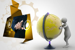 3d man analysing the globe. In color background Stock Image