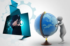 3d man analysing the globe. In color background Royalty Free Stock Photos