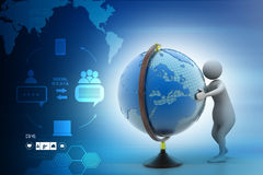 3d man analysing the globe. In color background Stock Photo