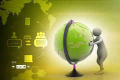 3d man analysing the globe. In color background Royalty Free Stock Images