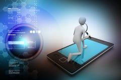 3d man analysing the tablet through magnifier. 3d illustration of man analyzing the tablet through magnifier Stock Photos