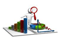 3d man analyzing graphs, business and financial report concept. 3d man analyzing graphs, business and finance report concept with colorful charts and diagrams Royalty Free Stock Images