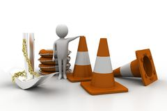 3d man with anchor , rescue  boat and road cones Stock Images
