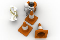 3d man with anchor , rescue  boat and road cones Royalty Free Stock Image