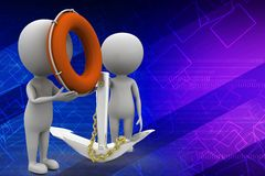 3d man with anchor and safe boat illustration Stock Images