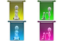 3D Man another Man in hand truck concept icon Royalty Free Stock Images