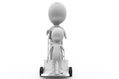 3d man another man in hand truck concept Stock Image
