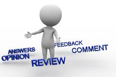 3d man with answers opinion review comment feedback Royalty Free Stock Photos