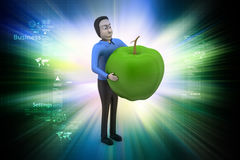 3d man with apple Stock Photo