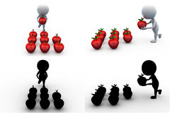 3d man apple concept collections with alpha and shadow channel Royalty Free Stock Image