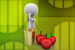 3d man apple drink illustration Stock Photo