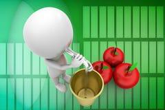 3d man apple drink illustration Royalty Free Stock Image
