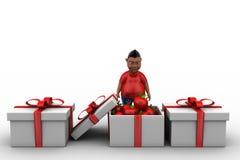3d man apple gift Stock Photo