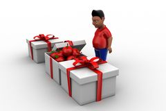 3d man apple gift Royalty Free Stock Photo