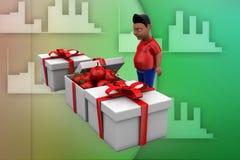 3d man apple gift illustratrion Stock Photo