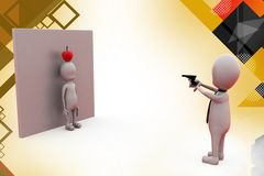 3d man apple gun Royalty Free Stock Photos