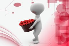 3d man apples illustration Stock Photos