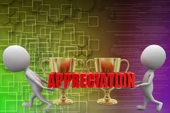 3d man with appreciation  illustration Royalty Free Stock Photo