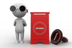 3d man approved concept Royalty Free Stock Photo