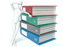 3d Man with archive from folders on white  background.  Stock Image