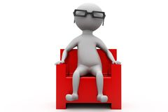 3d man on armchair in cinema concept Stock Image